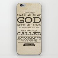 bible verses iPhone & iPod Skins featuring Romans 8:28 Bible Verse by Tony D'Amico