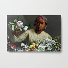 Classical Masterpiece  Young Woman with Peonies by Frederic Bazille Metal Print