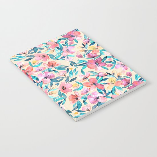 Peach Spring Floral in Watercolors Notebook