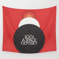 stanley kubrick Wall Tapestries featuring 2001 A Space Odyssey - Stanley Kubrick Poster, Red Version by Stefanoreves
