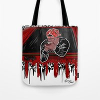 lebron Tote Bags featuring 100 Meter Dash! by SaintCastro
