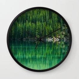 Mid Century Modern Round Circle Photo Graphic Design Reflective Green Pine Forest Lake Wall Clock