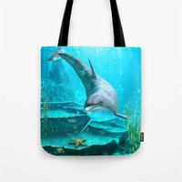 dolphin Tote Bags featuring Dolphin by Simone Gatterwe