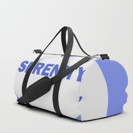 white heart on celestial background with the word serenity. Duffle Bag