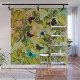 Vintage Ginkgo Leaves and Butterflies Wall Mural