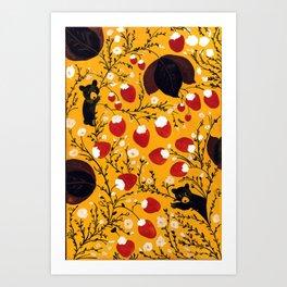 strawberry black bears Art Print