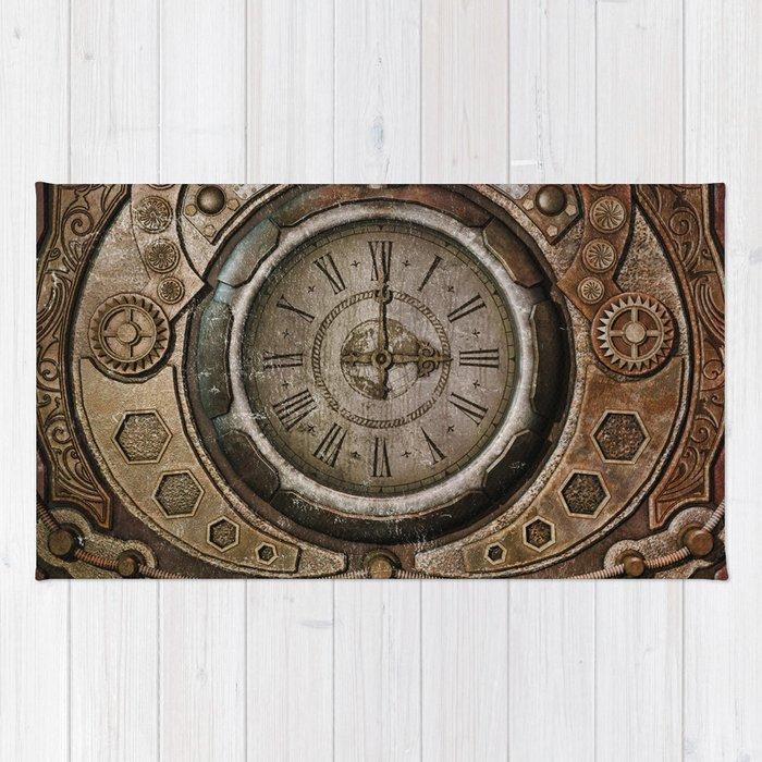 Brown Grunge Vintage Steampunk Clock Rug By Simonegatterwe
