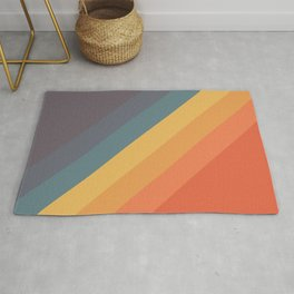 Rudana - Classic Colorful Vintage Vibes 70s Summer Style Retro Stripes Rug