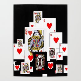 RED CASINO COURT PLAYING CARDS IN BLACK Poster