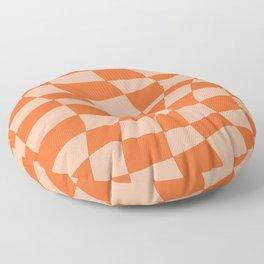 Orange twist checkered retro pattern Floor Pillow