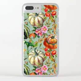 Vintage modern hand painted floral roses pumpkins pattern Clear iPhone Case