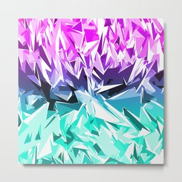 Modern Trendy Purple and Teal Fractal Geo Metal Print