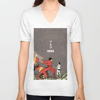akira V-neck T-shirts featuring Akira by Rafael Romeo Magat