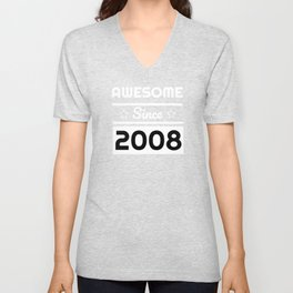 Awesome Since 2008 11th Years Old Shirt 11 Birthday Gift Unisex V-Neck