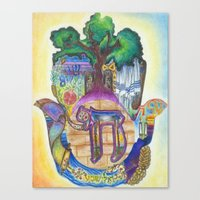 jewish Canvas Prints featuring Jewish Hamsa by Jewish Art by Brooke Sendele