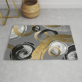 Modern Abstract Golden Rings Black and White Swirl Circles Rug