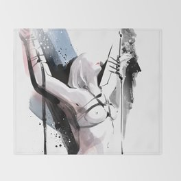 The beauty of tight binding, Naked body tied up to a pole, Nude art, Fine-art shibari rope bondage Throw Blanket