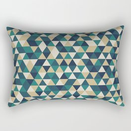 Foggy Petrol and Blue - Hipster Geometric Triangle Pattern Rectangular Pillow