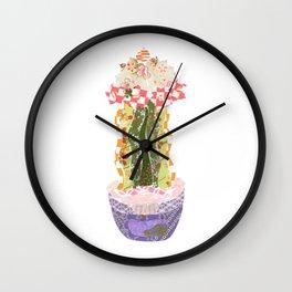 Papercraft Cactus in Orange Wall Clock