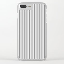 Classic Small Grey Cinder Pastel Grey French Mattress Ticking Double Stripes Clear iPhone Case