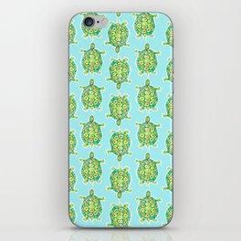 Tortoise Pattern with aqua background iPhone Skin
