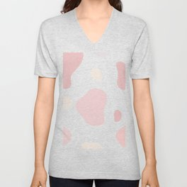 Moo patches - Cherry pink colour series  Unisex V-Neck