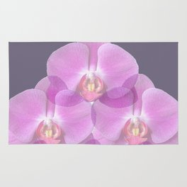 PINK ORCHIDS & GREY FLORAL ABSTRACT ART Rug