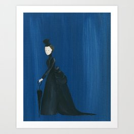 Victorian Umbrella Lady - Original Acrylic on Canvas Art Art Print