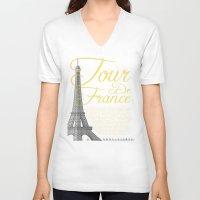 tour de france V-neck T-shirts featuring Tour De France Eiffel Tower by Wyatt Design