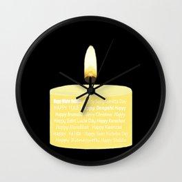 Happy Holidays Candle Wall Clock