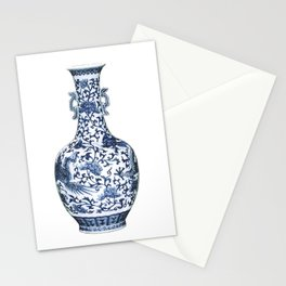 Blue & White Chinoiserie Porcelain Floral Vase with Flying Phoenix Stationery Cards