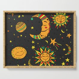 Moon, sun and stars pattern Serving Tray