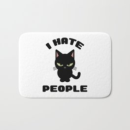 I Hate People Funny Cat Bath Mat