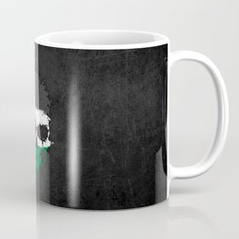 Flag of Palestine on a Chaotic Splatter Skull Coffee Mug