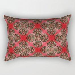 Red Green and Gold Beadwork Inspired Print Rectangular Pillow