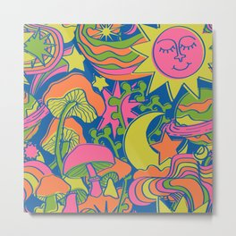 Psychedelic Daydream in Neon + Blue Metal Print