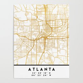 ATLANTA GEORGIA CITY STREET MAP ART Poster