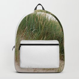 Soft green wild grass in the sand dunes of Northumberland. Backpack