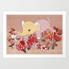 Elephant in the flowers Art Print