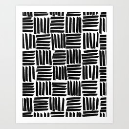 Black and White Cross Hatch Hand Drawn Lines Art Print