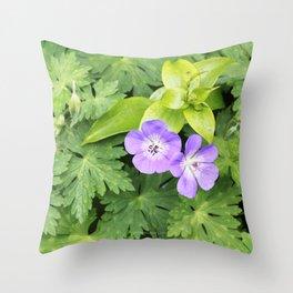 Italian Garden - Geranium Flowers Throw Pillow
