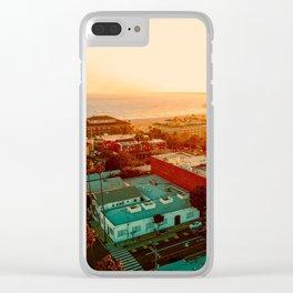 Santa Monica beach evening light Clear iPhone Case
