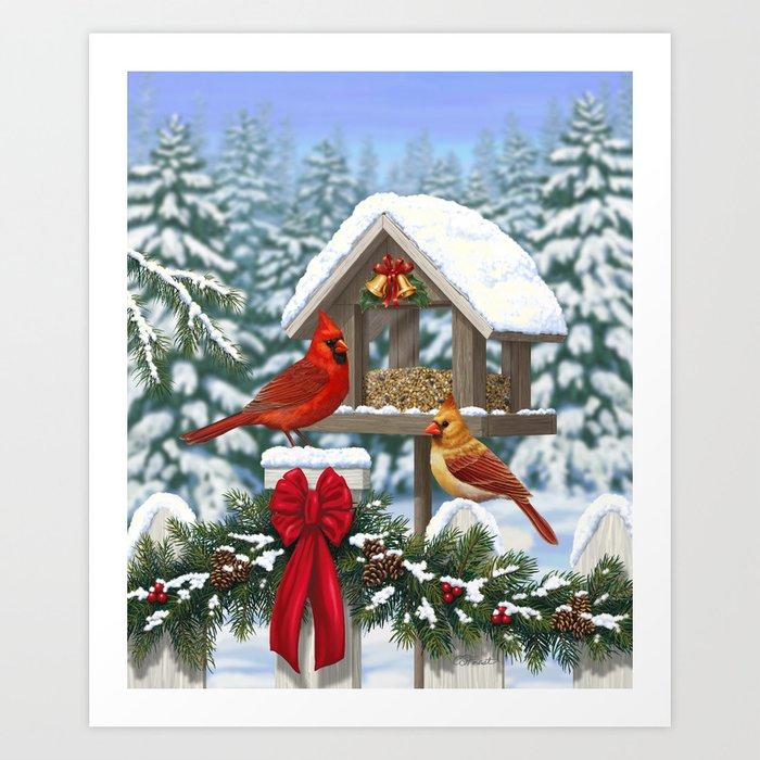Christmas Cardinals Images.Red Cardinals And Christmas Bird Feeder Art Print By Csforest