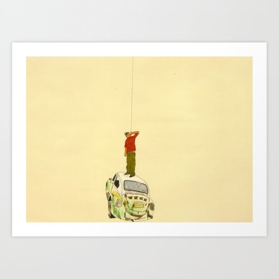 man listening something from the sky Art Print