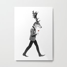 Hiker with his flower in hand Metal Print