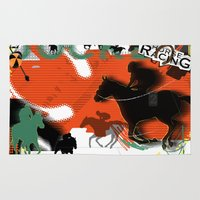 racing Area & Throw Rugs featuring Horse Racing by Robin Curtiss