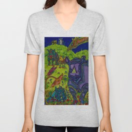 Shrooms and Rhinos Unisex V-Neck