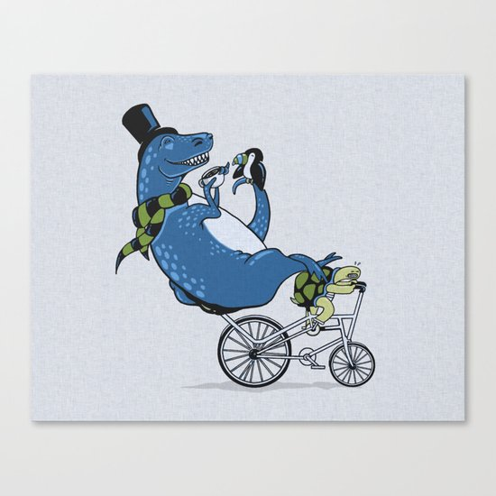Tandem T-Rex Tastes Tea with Tucan, as Turtle Toils Canvas Print