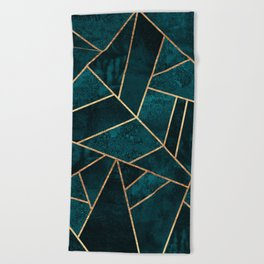 Deep Teal Stone Beach Towel