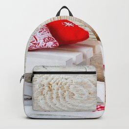 Holiday Christmas Heart Candle Sled Backpack